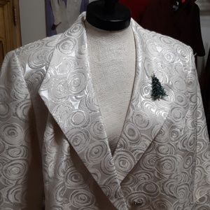 Winter Formal Jacket w Christmas Brooch Sz 18